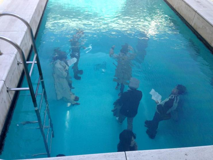 The 21st century contemporary museum: People under a swimming pool.