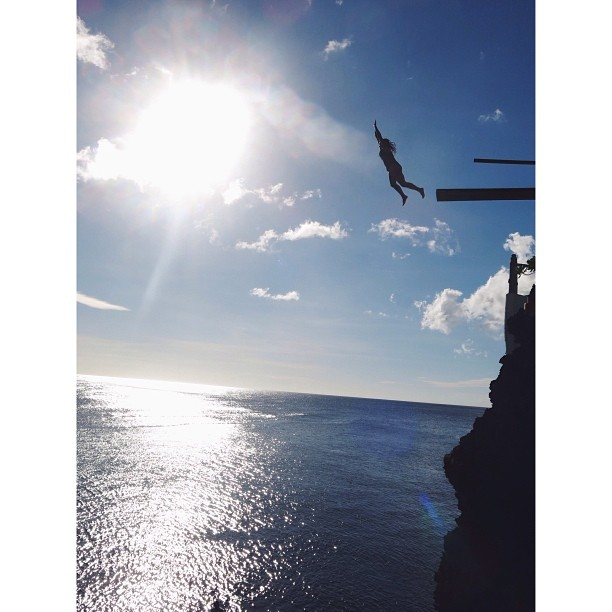 15 metre cliff jump overlooking the sea - Ariel's point, Boracay.